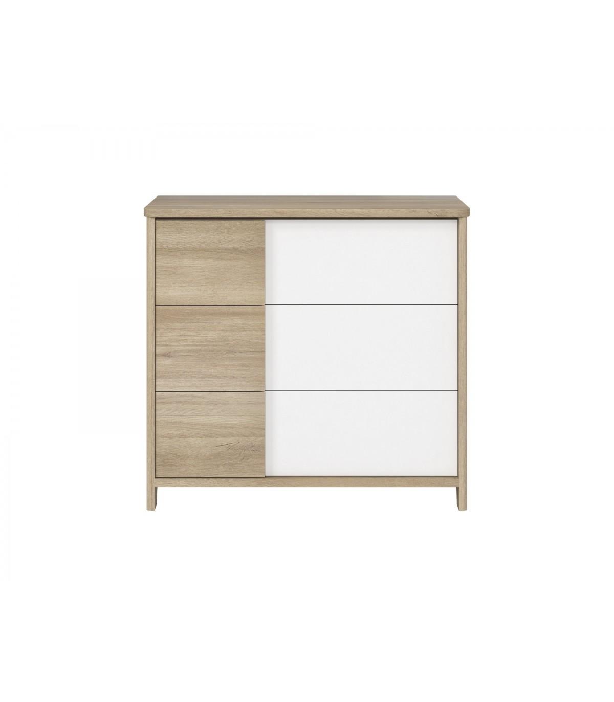 Commode 3 tiroirs décor bois et blanc Bébé - 95 x H91cm