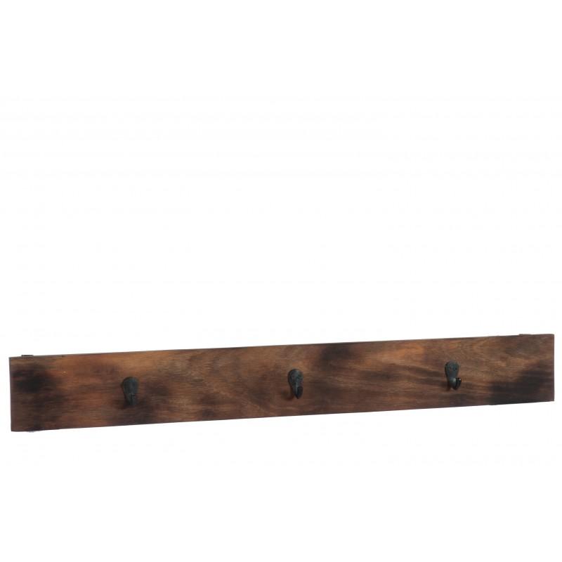 Portemanteau 3 crochets bois marron foncé L100,5cm