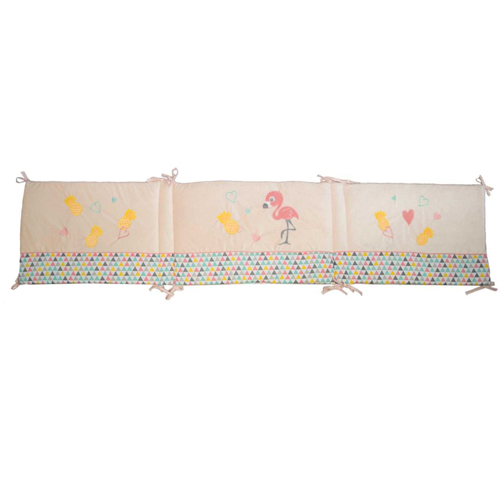 Tour de lit bébé adaptable flaminco Rose 40x180