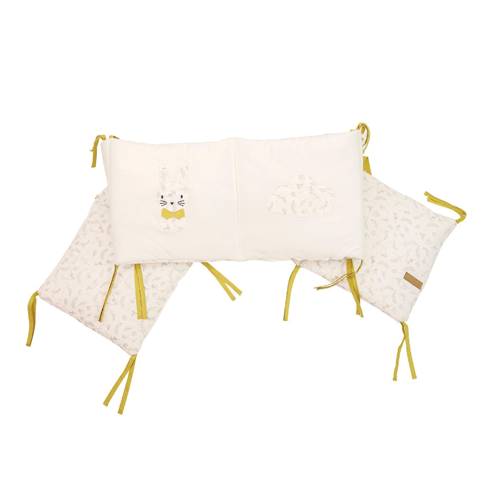Tour de lit bébé Leafy Bunny en Coton Ecru 30x180