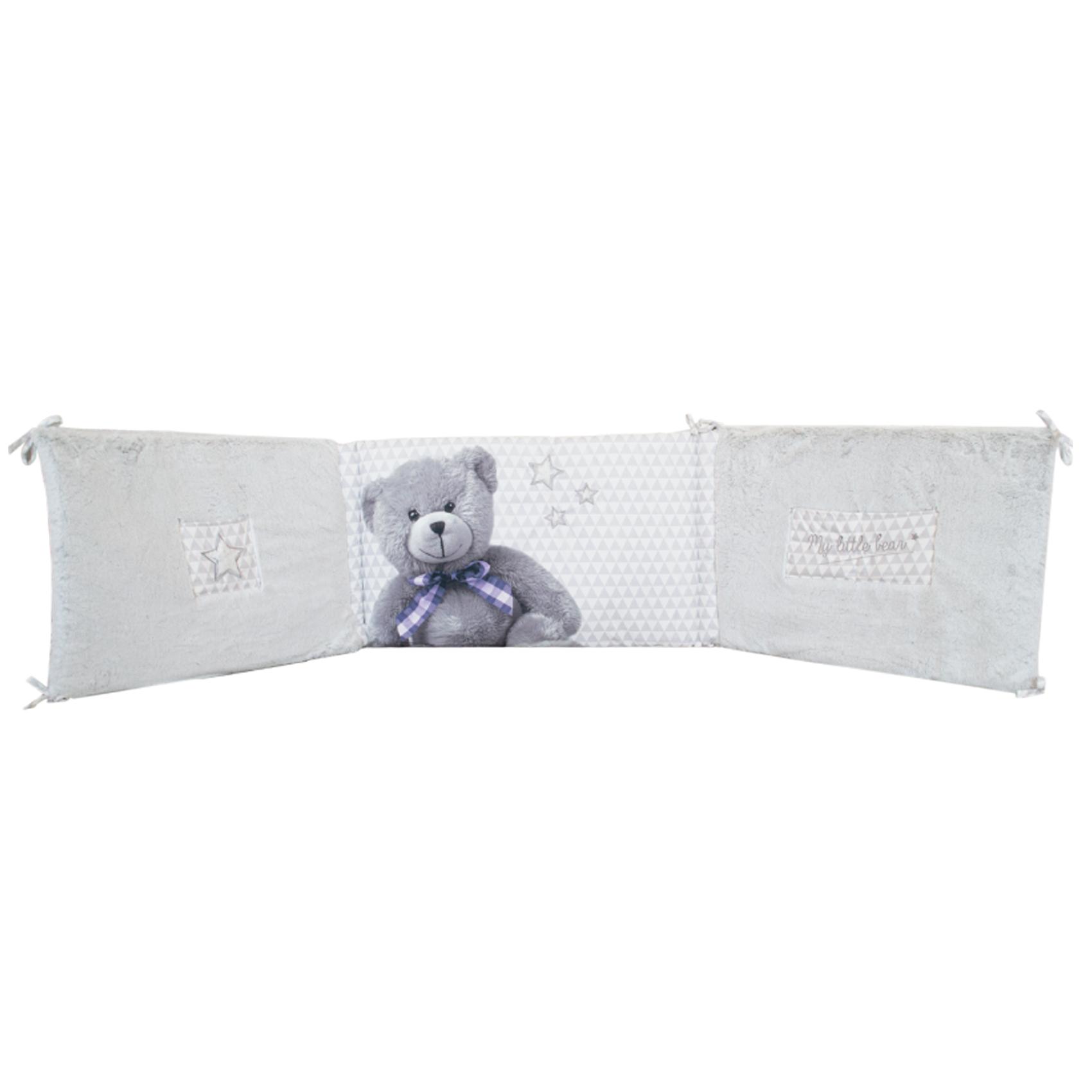 Tour de lit bébé adaptable LittleBear Gris/Blanc 40x180