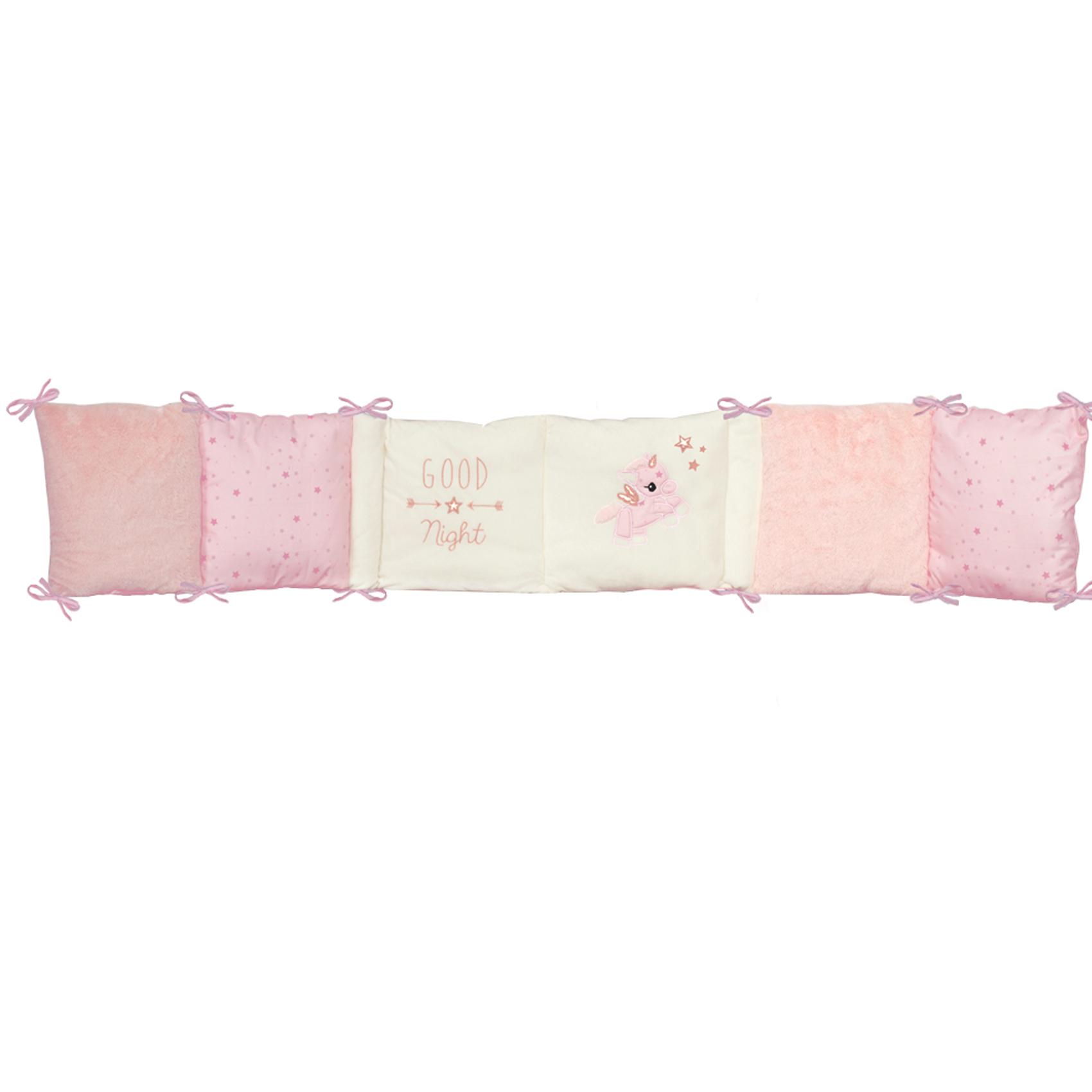 Tour de lit bébé adaptable JOLLY coton Rose/Ecru 30x180