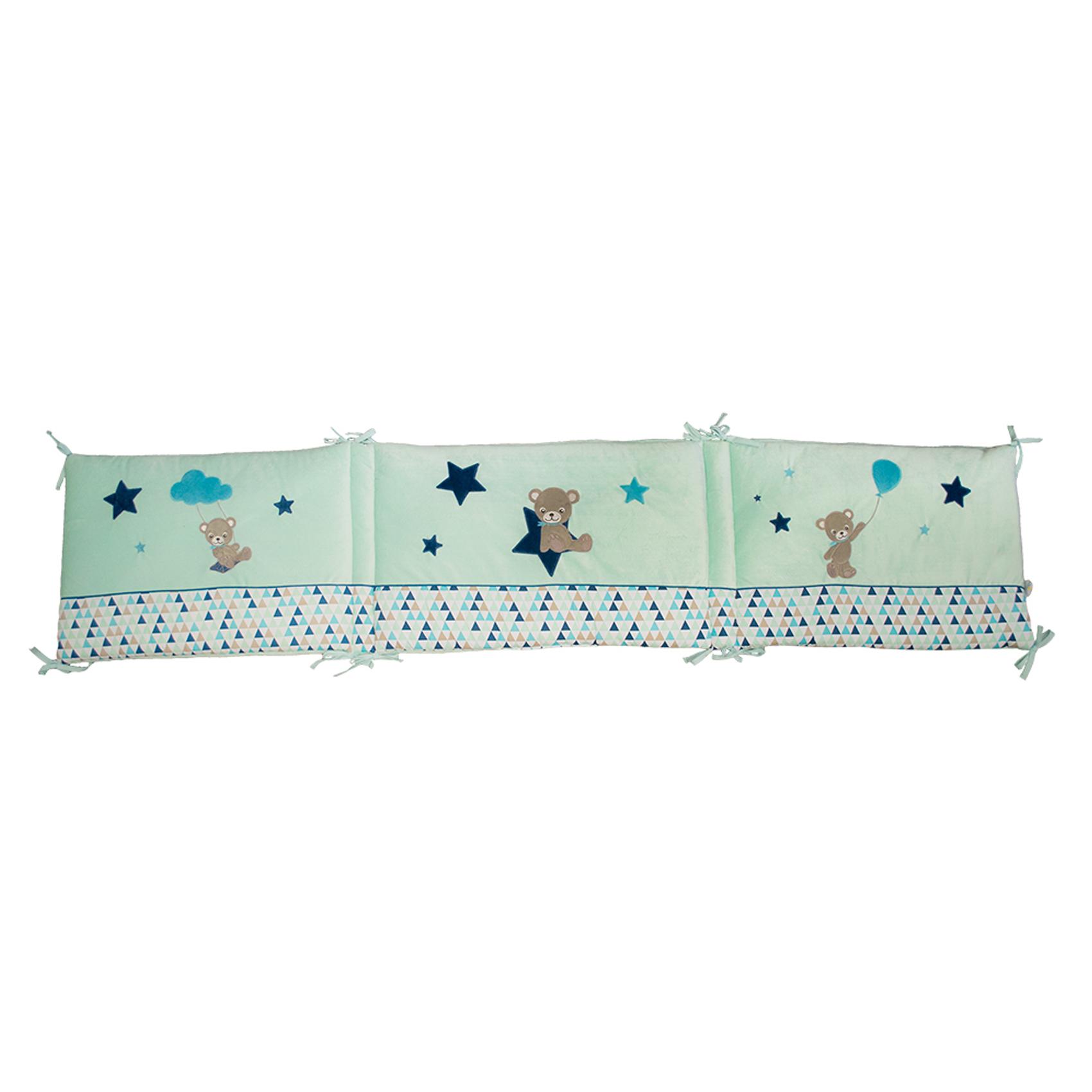 Tour de lit bébé adaptable Baby Star Bleu/Aqua 40x180
