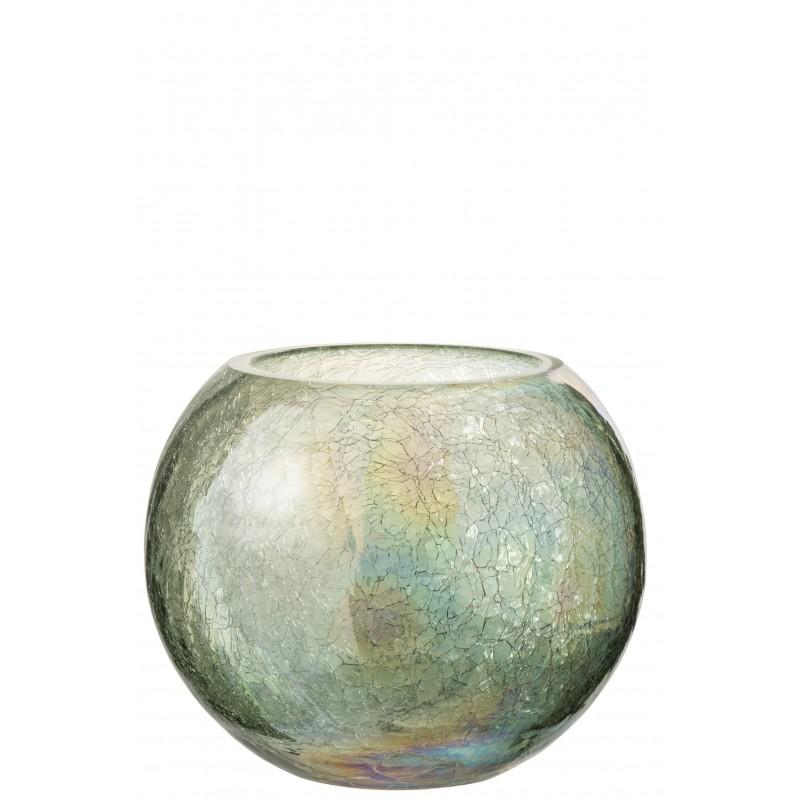 Photophore boule craquelé verre vert