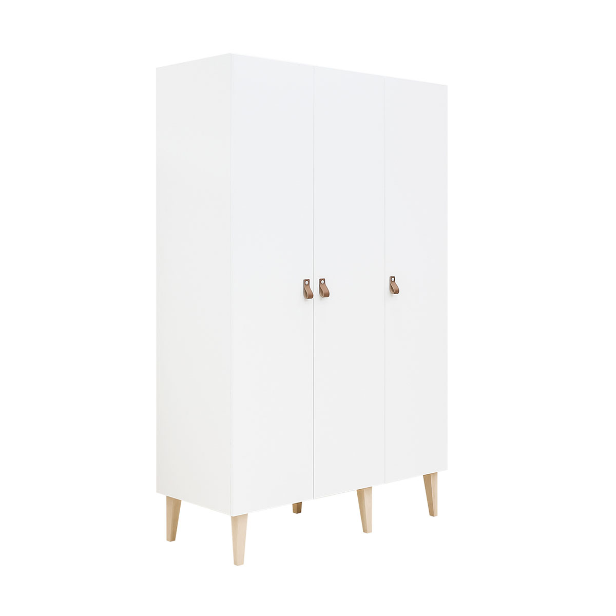 Armoire 3 portes blanc bois naturel