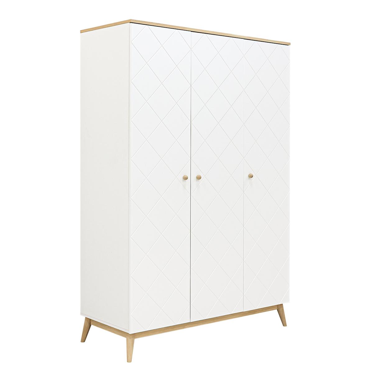 Armoire 3 portes blanc chêne