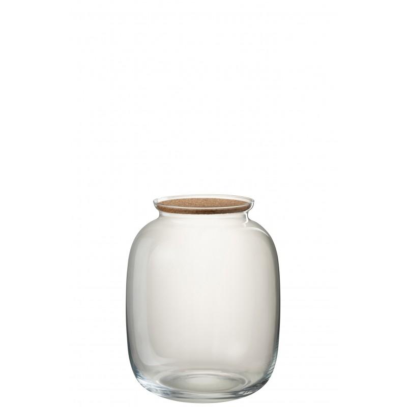 Pot décoratif verre/liège transparent H31cm