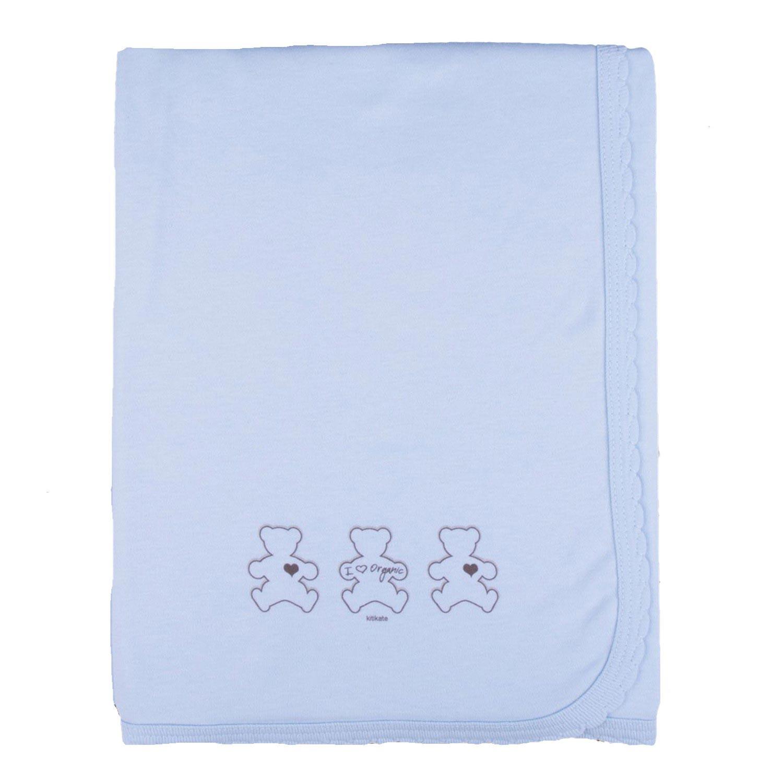 Couverture bébé légère en jersey de coton bio bleu