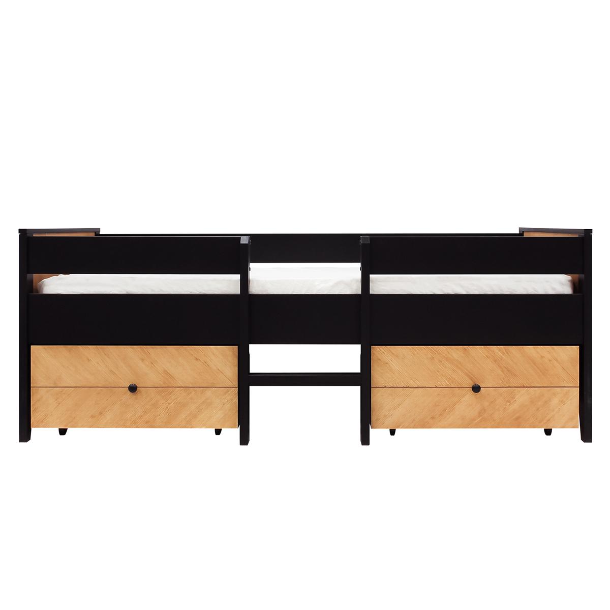 Lit 90x200 2 tiroirs de lit sommier inclus noir bois naturel