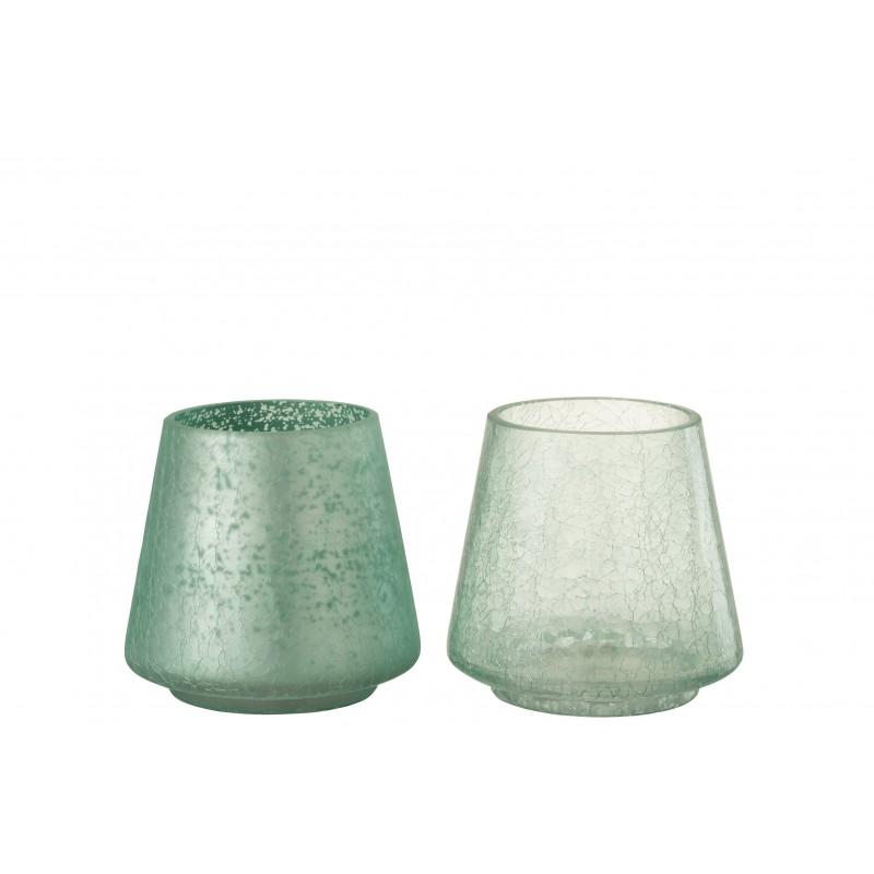 Photophore conique mat/brillant vert H14,5cm - Lot de 2