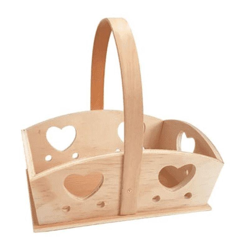 Panier coeur en bois 20x15x20cm