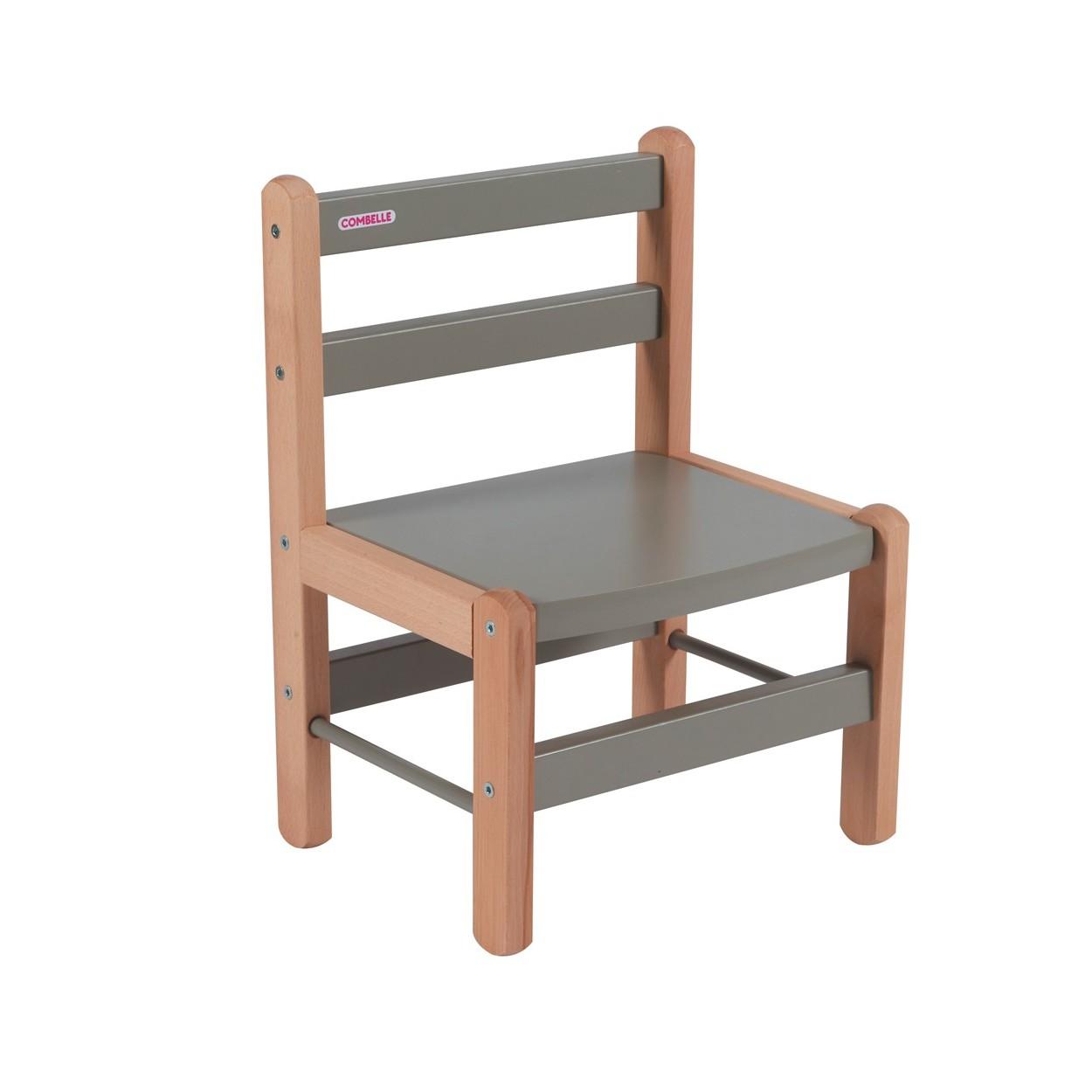 Chaise enfant bicolore gris - 33x46x27 cm