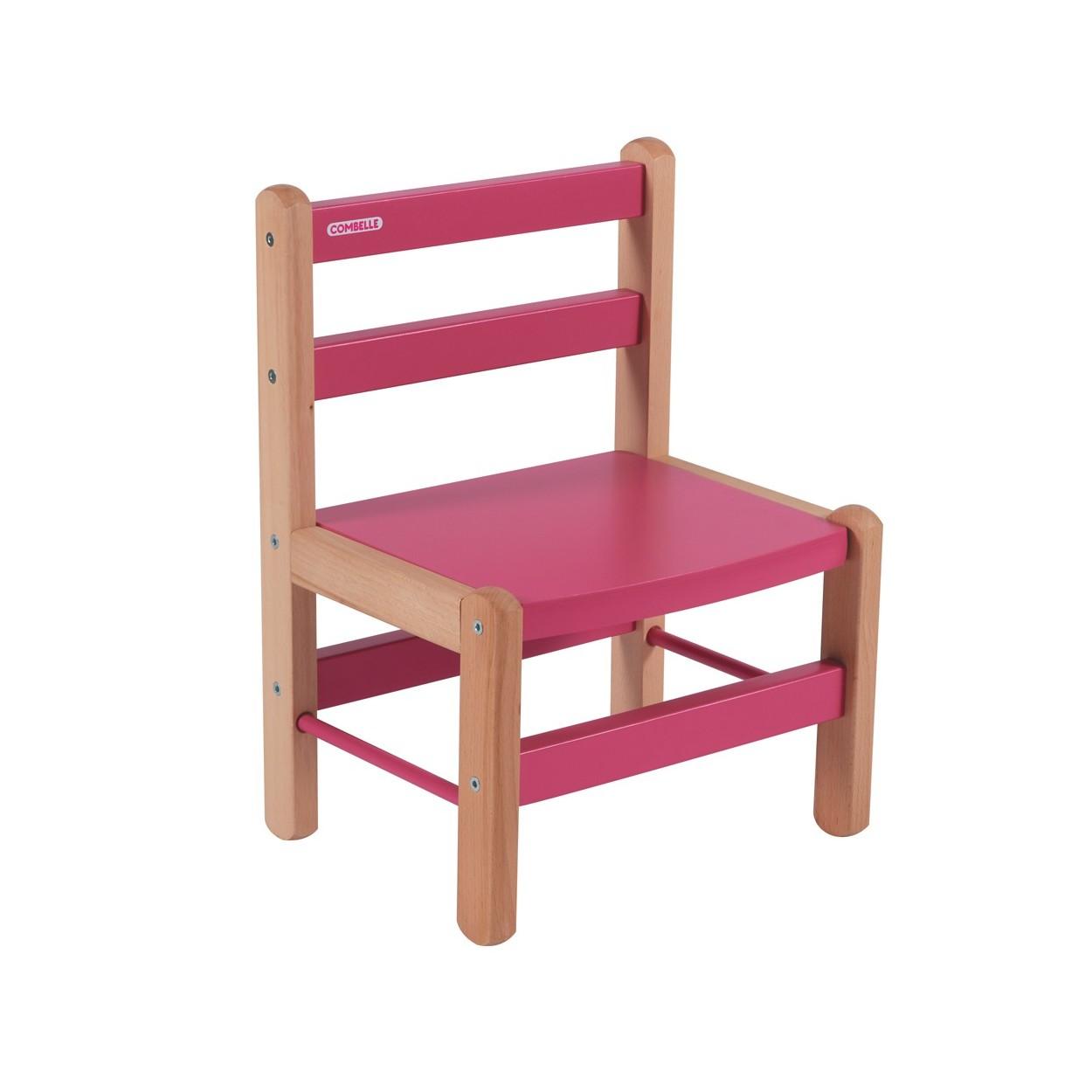 Chaise enfant bicolore fuchsia - 33x46x27 cm