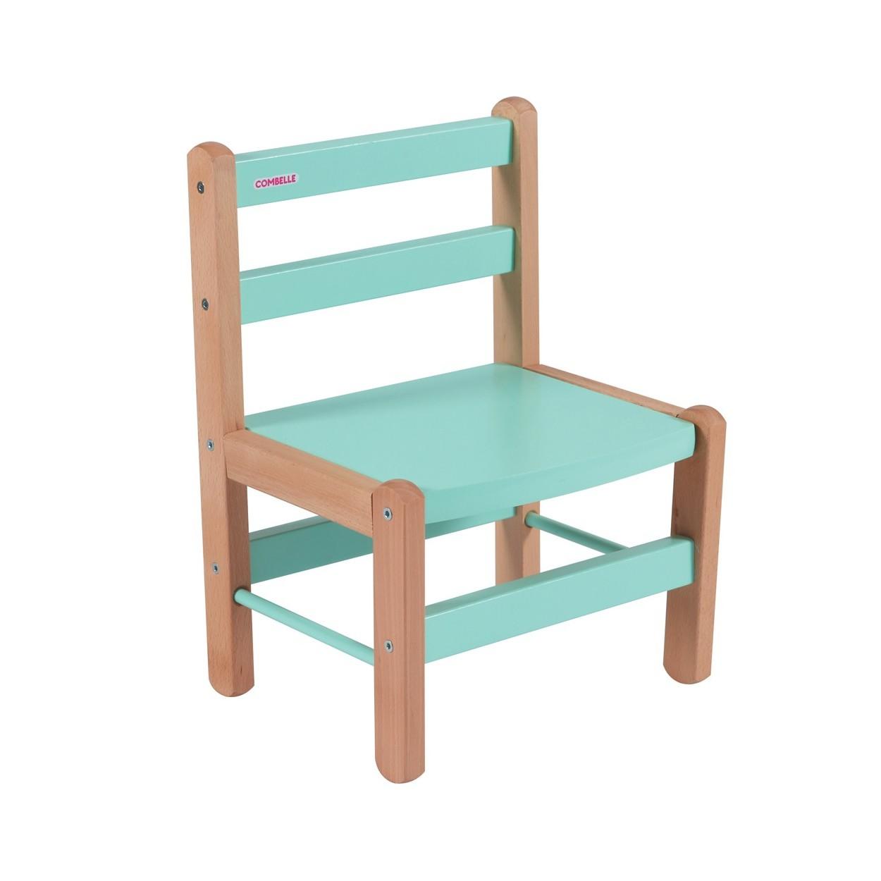 Chaise enfant bicolore vert menthe - 33x46x27 cm