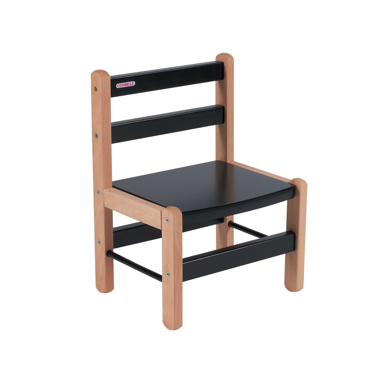 Chaise enfant bicolore noir - 33x46x27 cm