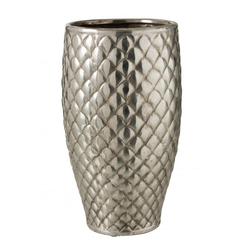 Vase à carreaux métal argenté H40cm