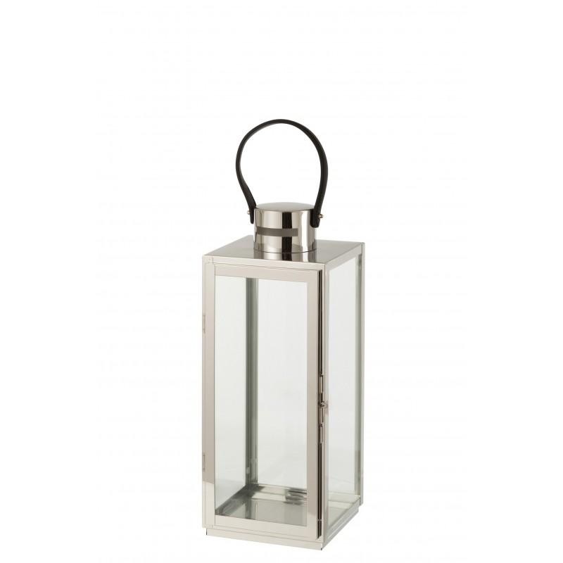 Lanterne carrée métal/verre argent H51cm