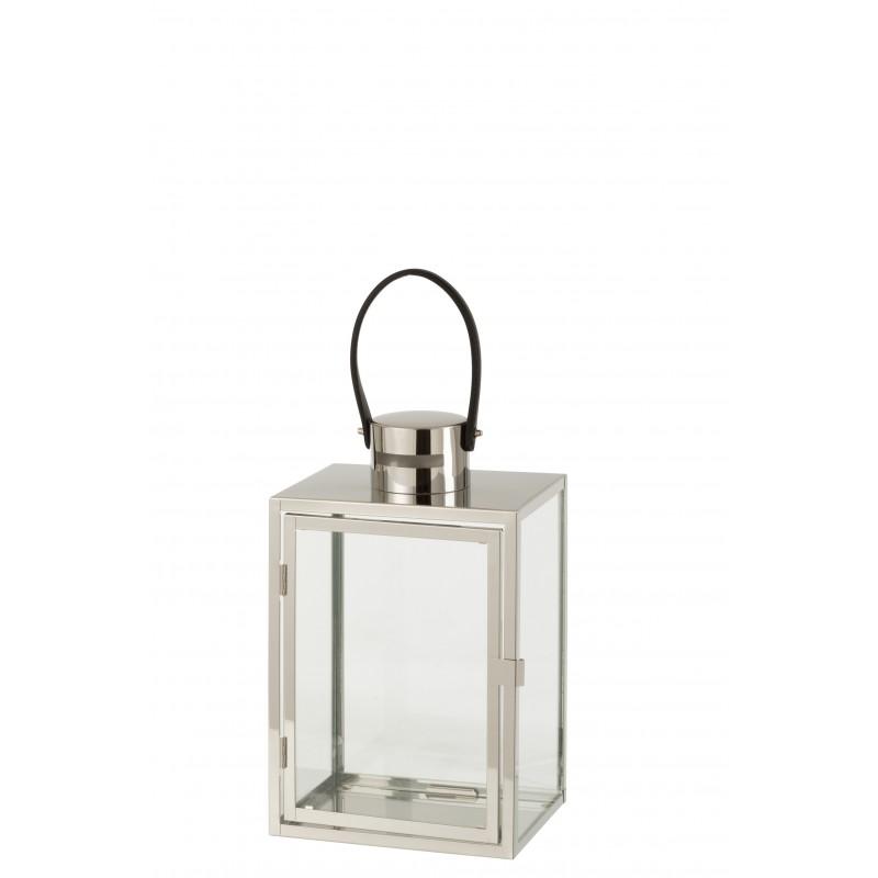Lanterne rectangulaire métal/verre argent H44cm
