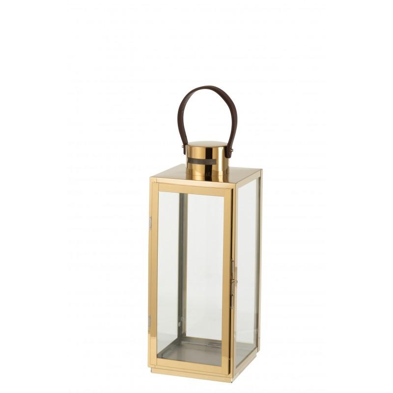 Lanterne carrée métal/verre or H52cm