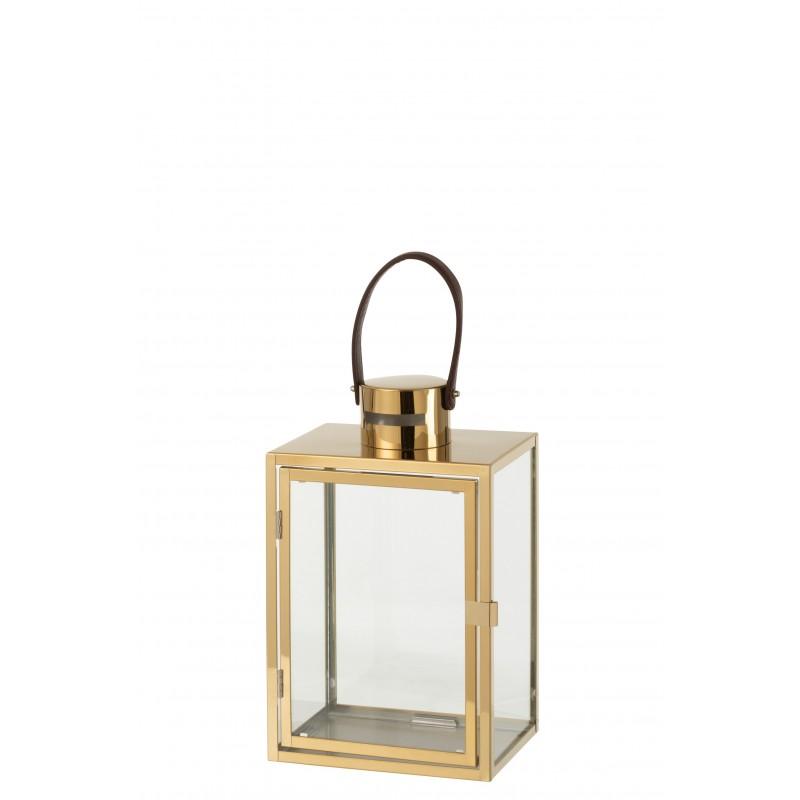 Lanterne rectangulaire métal/verre or H43cm