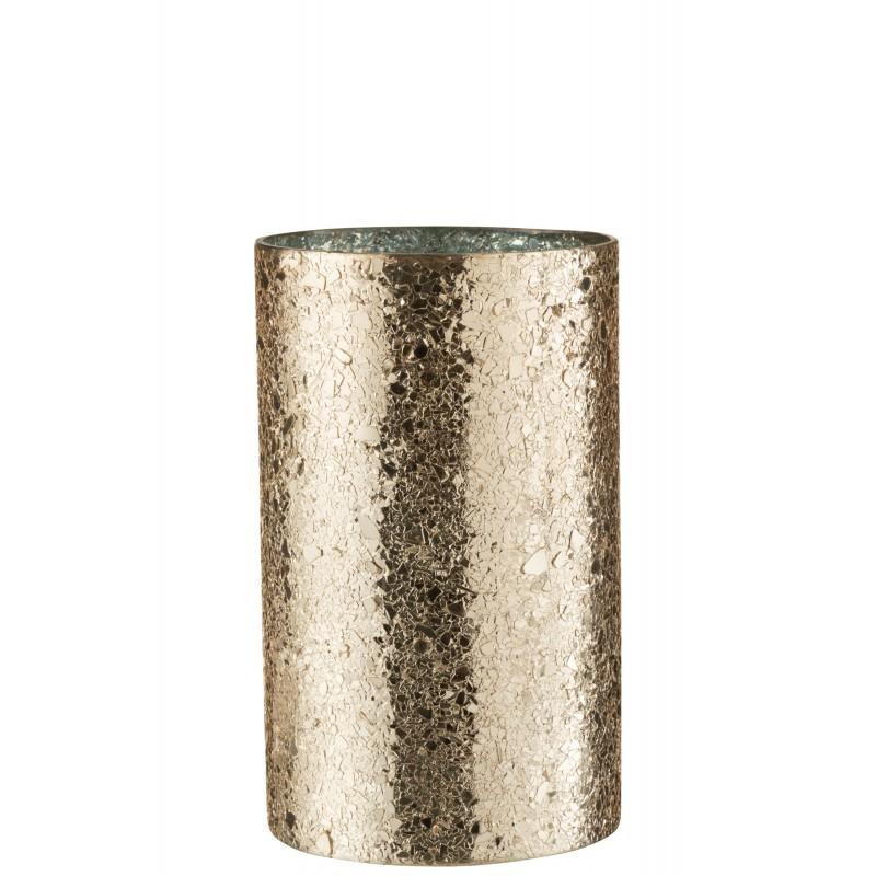 Photophore cylindrique éclat de verre or H25cm