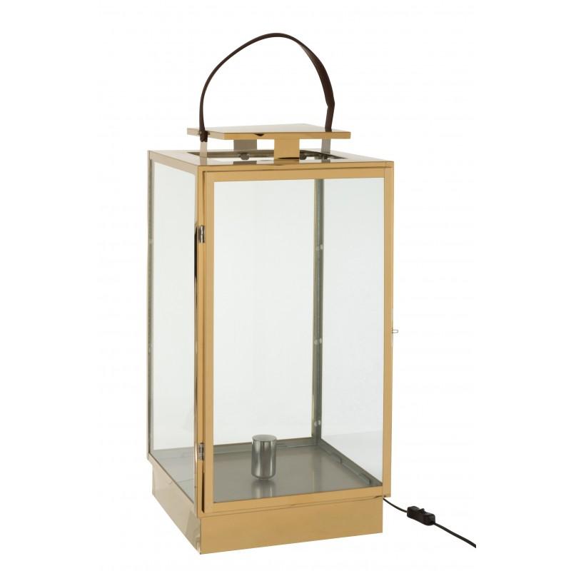 Lanterne lampe métal/verre or H75cm