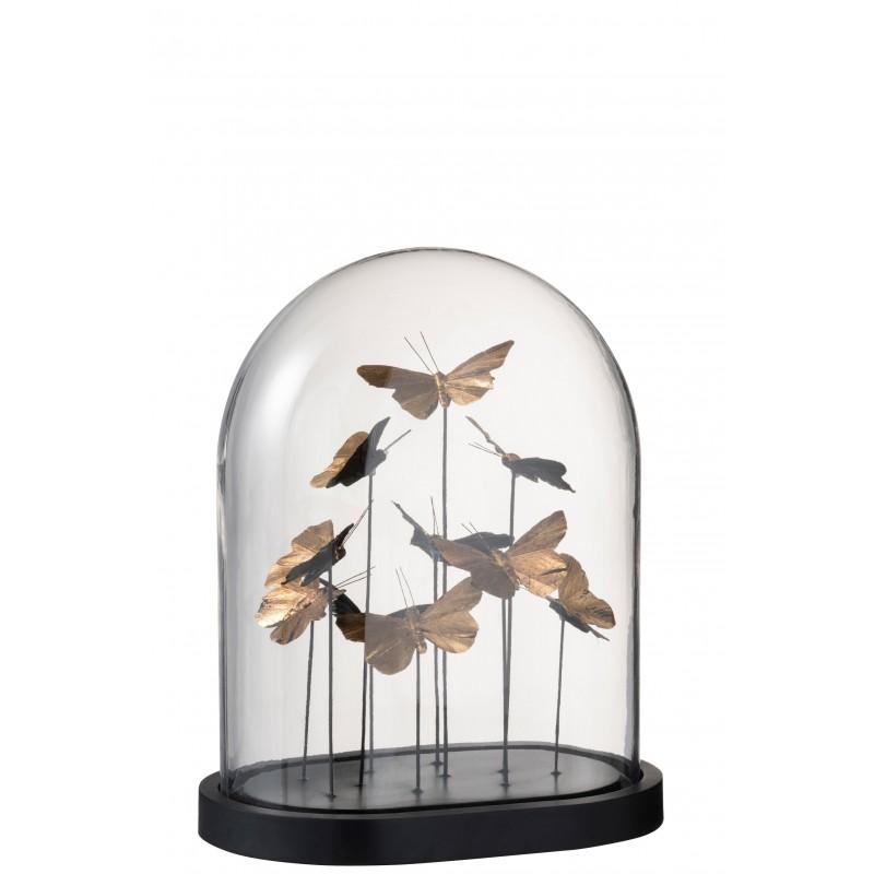 Cloche papillons ovale verre noir/or H33cm
