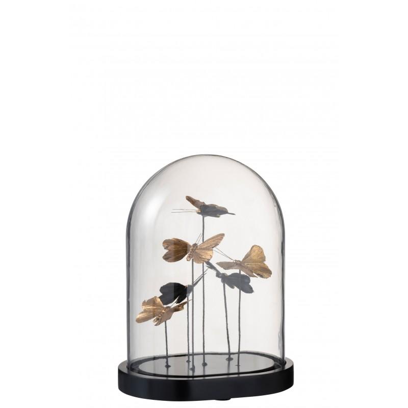 Cloche papillons ovale verre noir/or H27cm