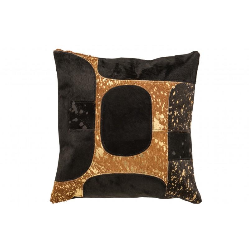 Coussin carré cuir noir/or 45x45cm