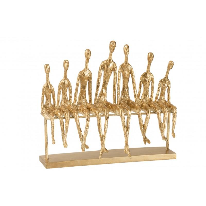 7 personnes assises banc résine or