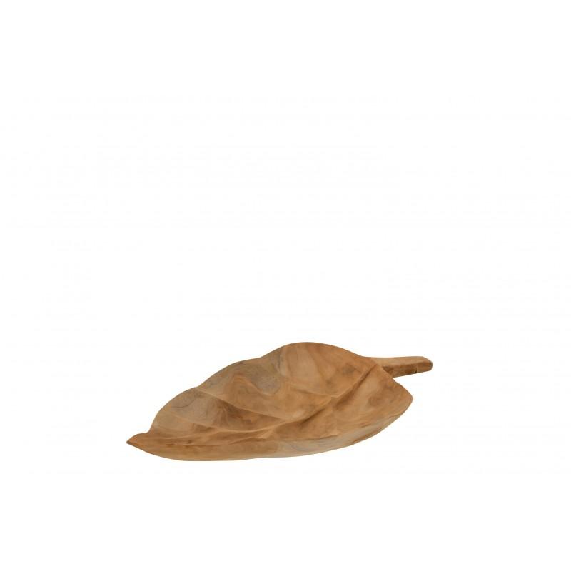 Plat feuille teck naturel L39,5cm