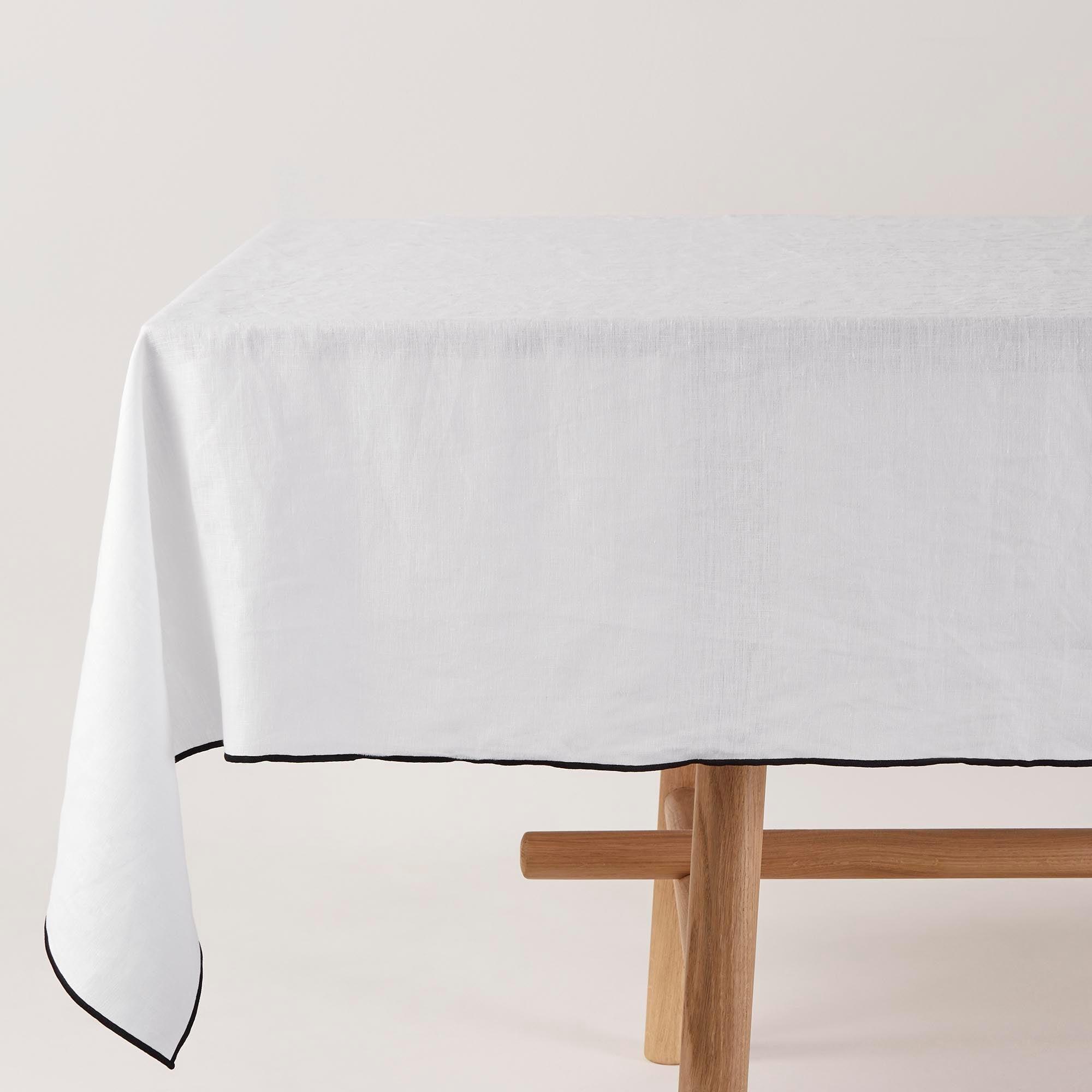 Nappe rectangulaire 170x320 cm Blanc et bourdon noir en Lin