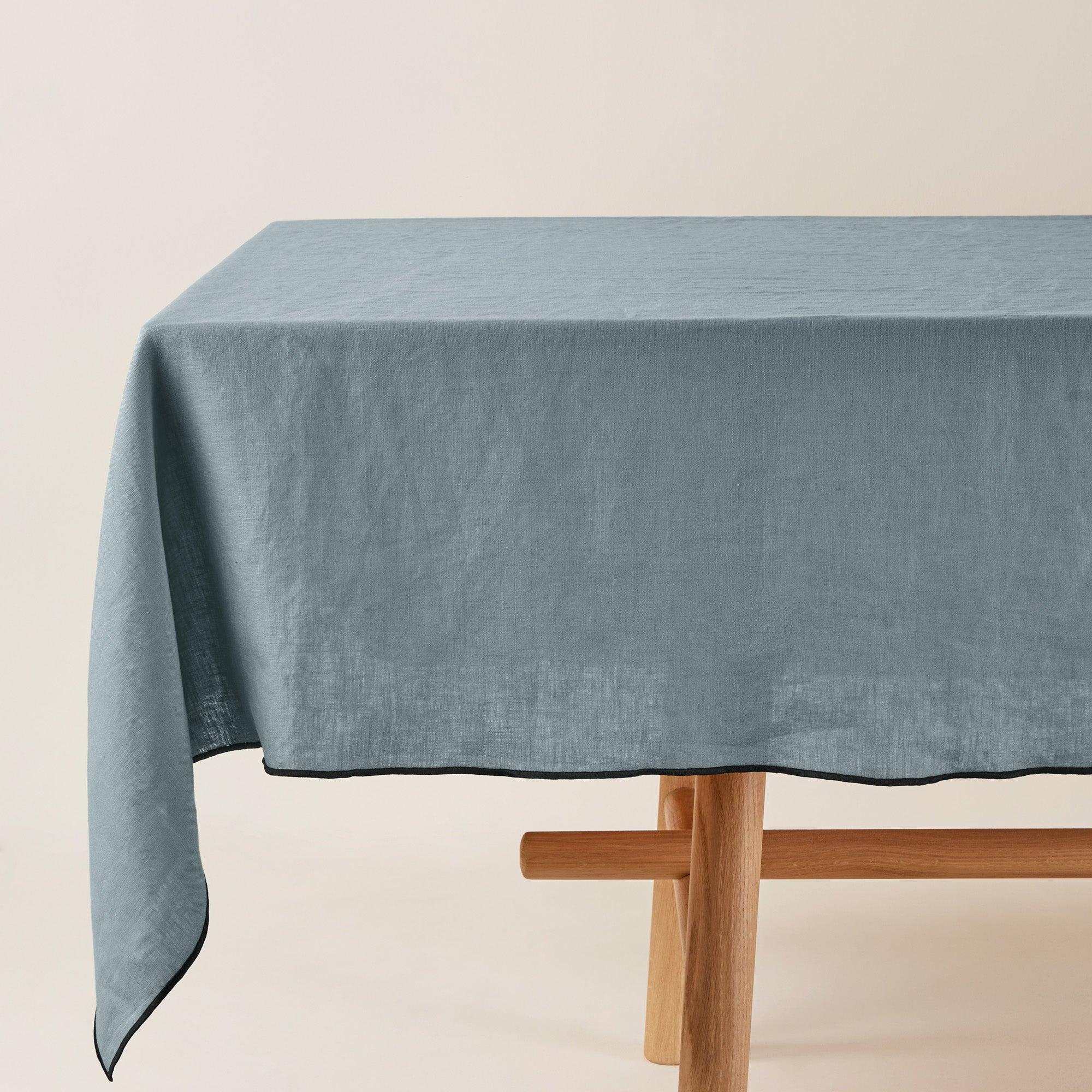 Nappe rectangulaire 170x320 cm Vert et bourdon noir en Lin
