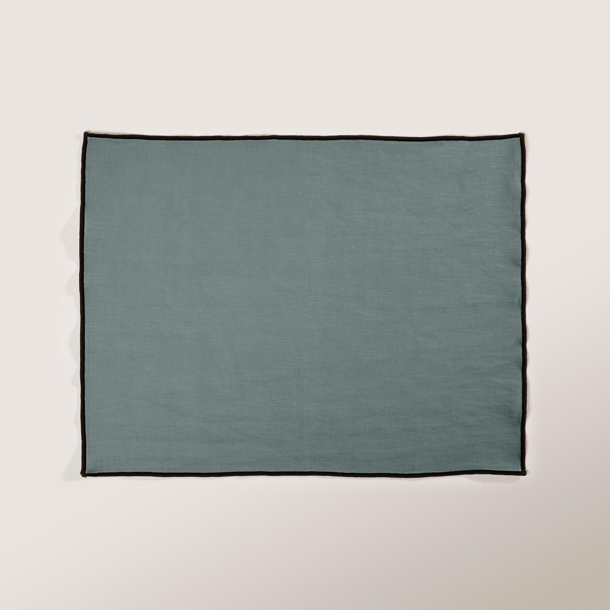 Set de table 35x45 cm Vert et bourdon noir en Lin