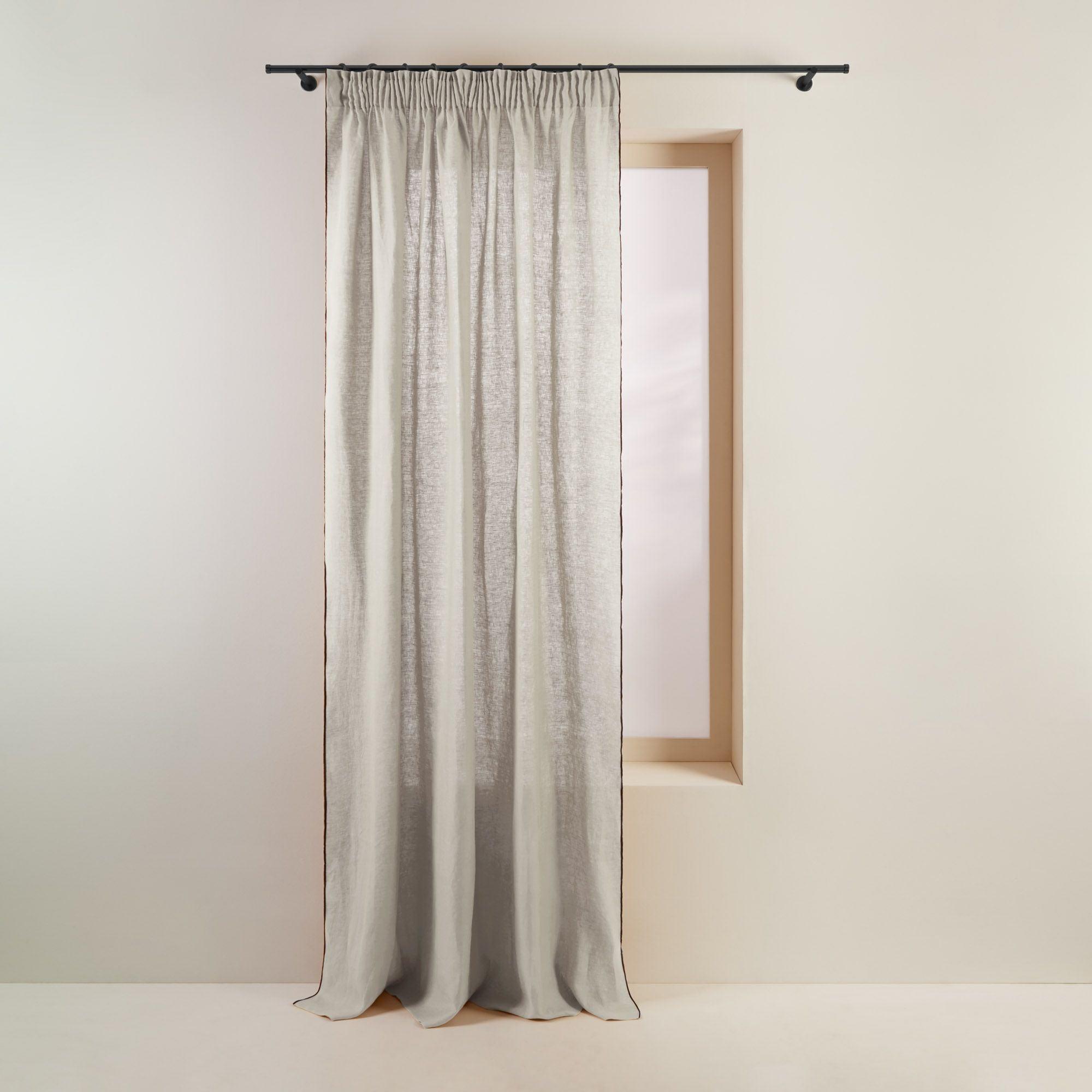 Rideau à ruban fronceur 200x280 cm Beige clair et bourdon noir en Lin