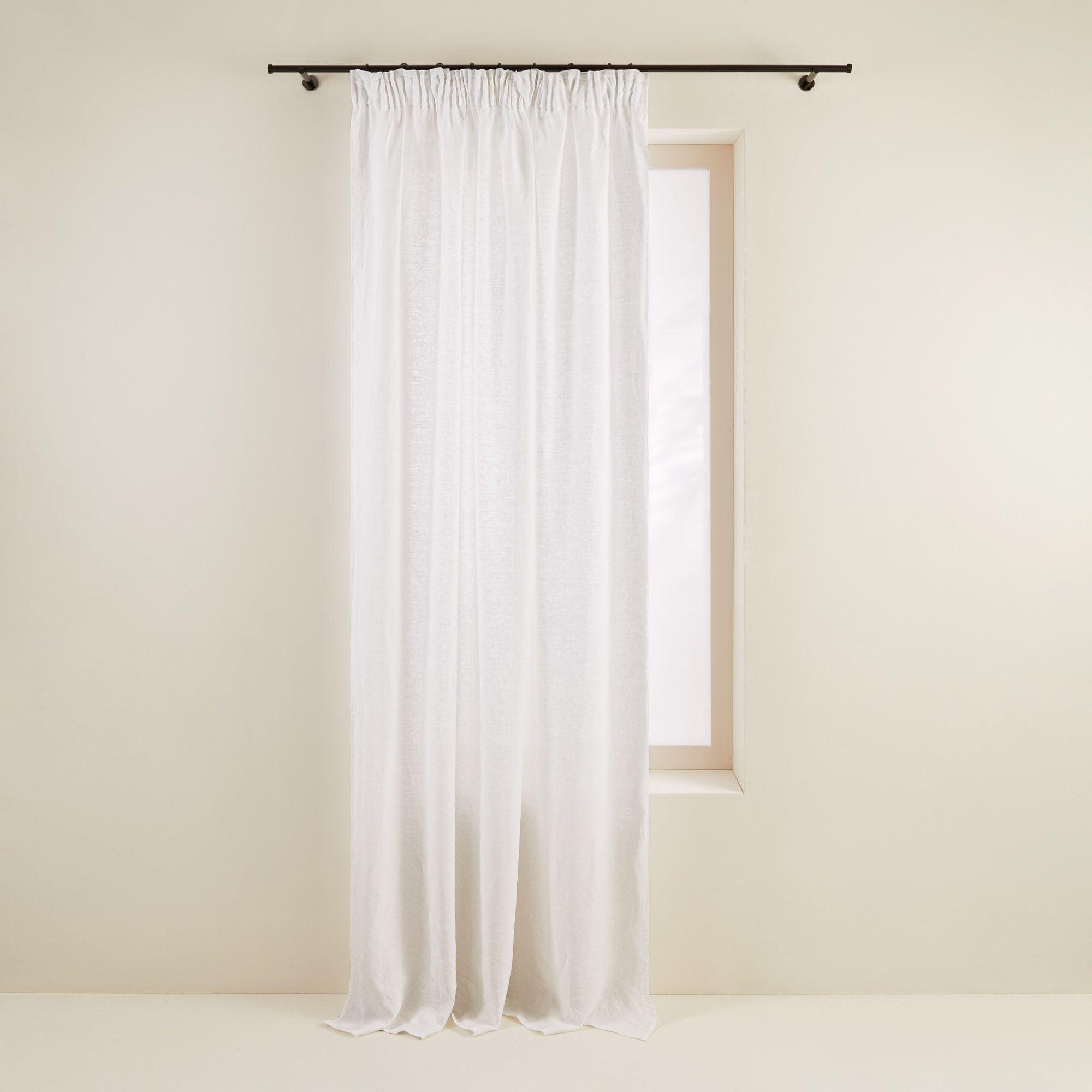 Rideau à ruban fronceur 350x280 cm Blanc en Lin