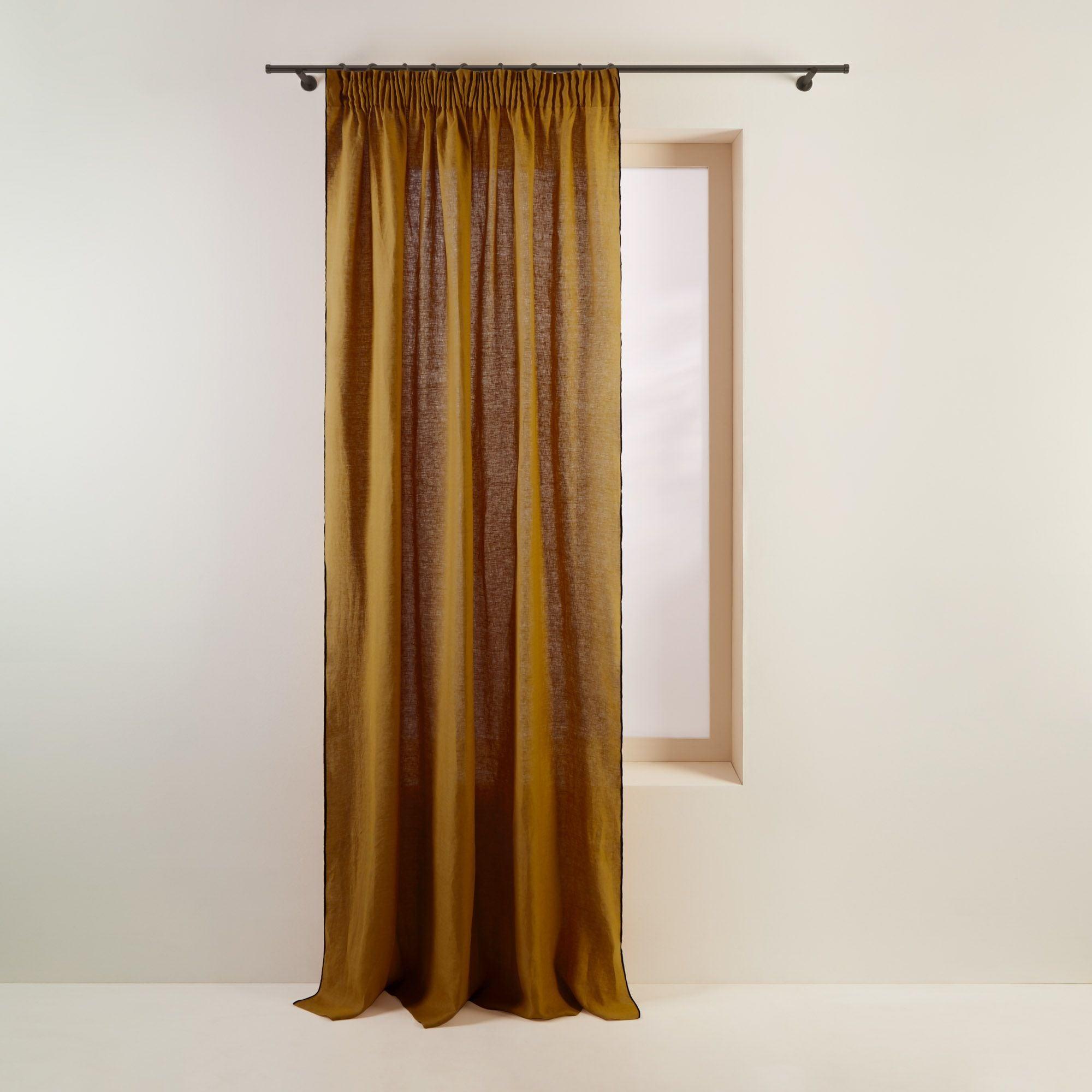 Rideau à ruban fronceur 350x280 cm Bronze et bourdon noir en Lin