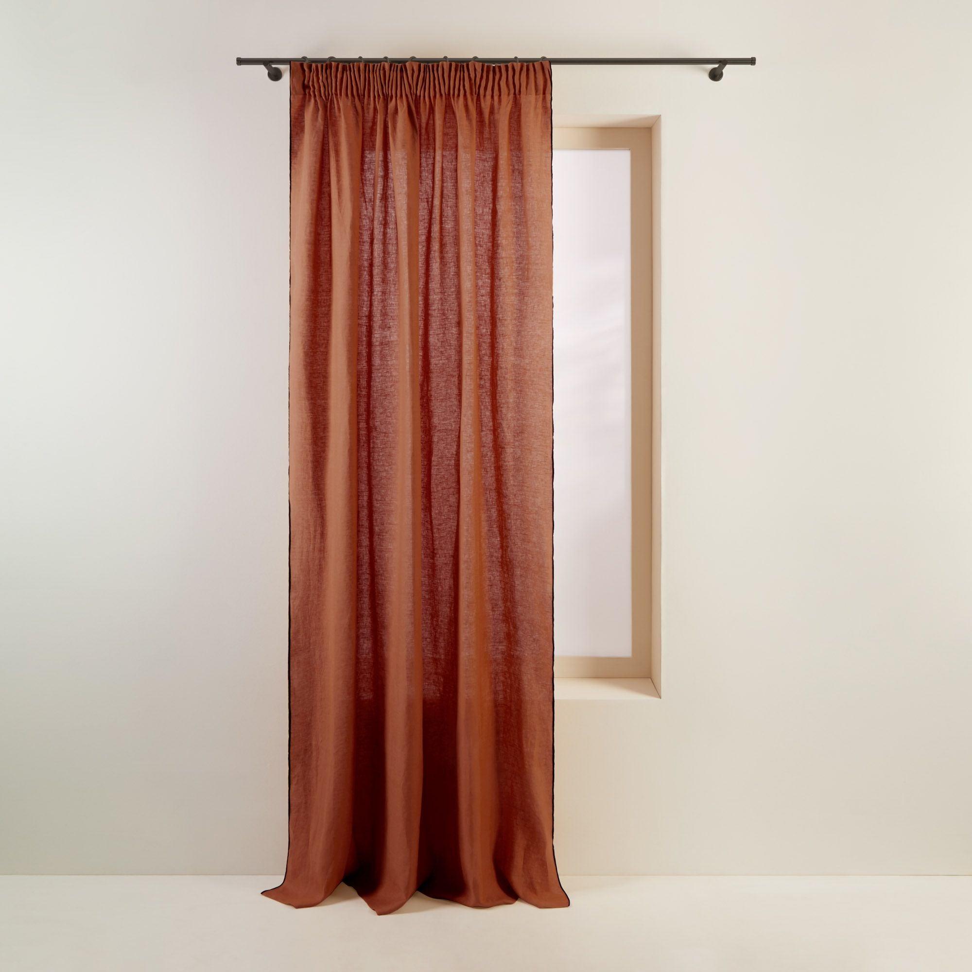 Rideau à ruban fronceur 350x280 cm Terracotta et bourdon noir en Lin