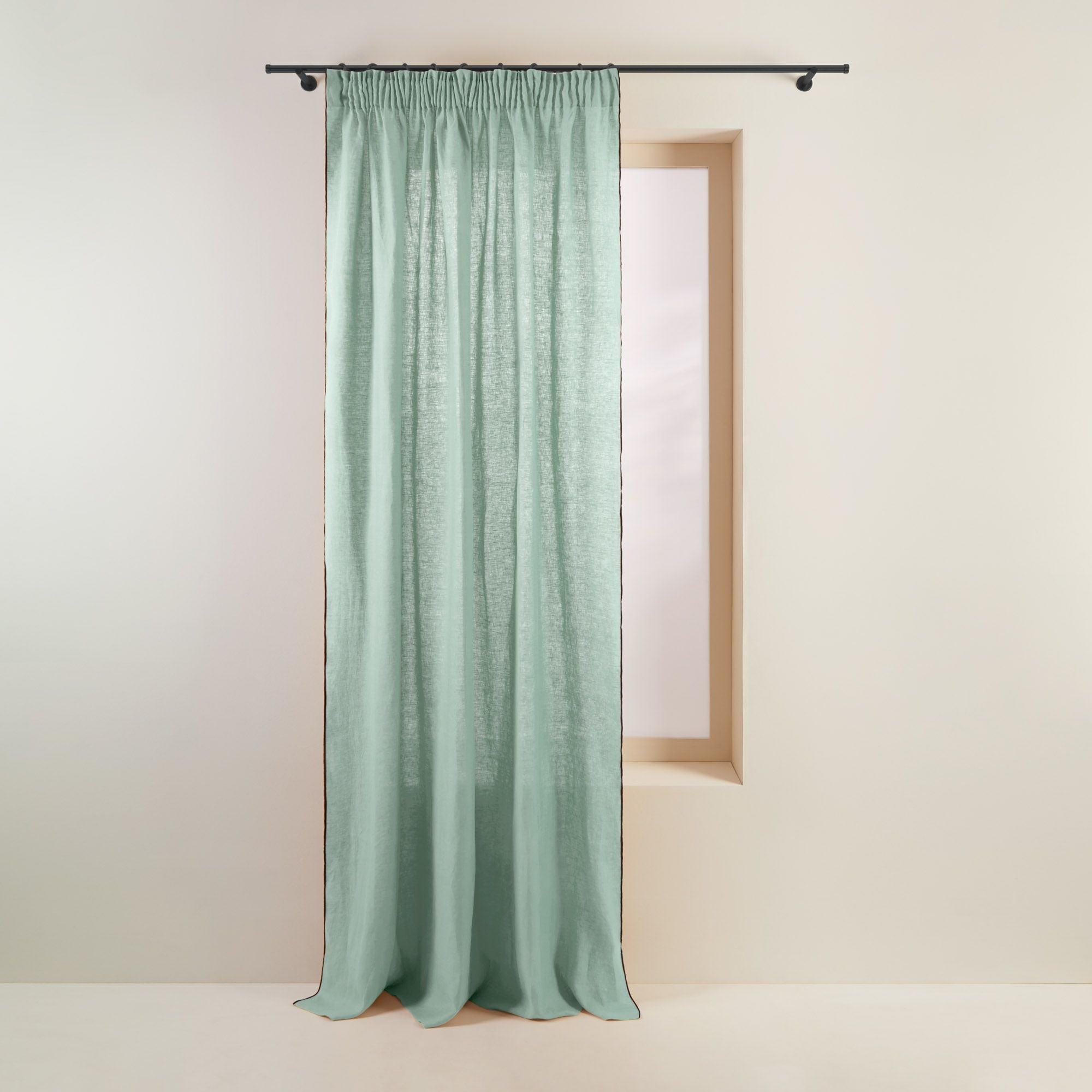 Rideau à ruban fronceur 144x280 cm Vert amande et bourdon noir en Lin