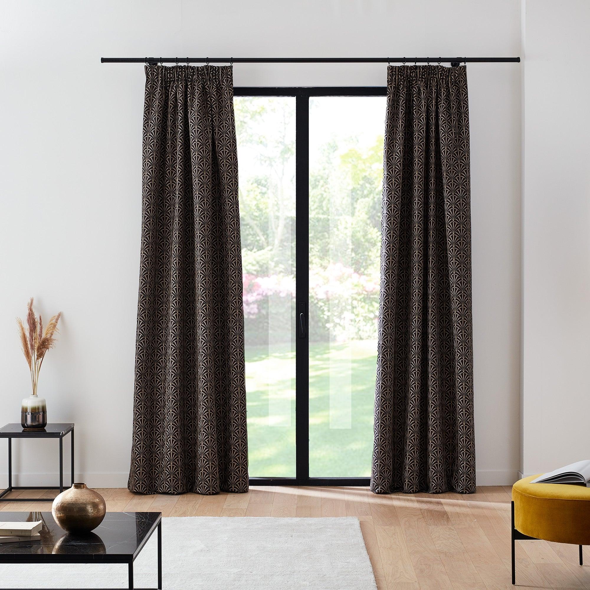 Rideau à ruban fronceur doublé 134x350 cm Noir et argent