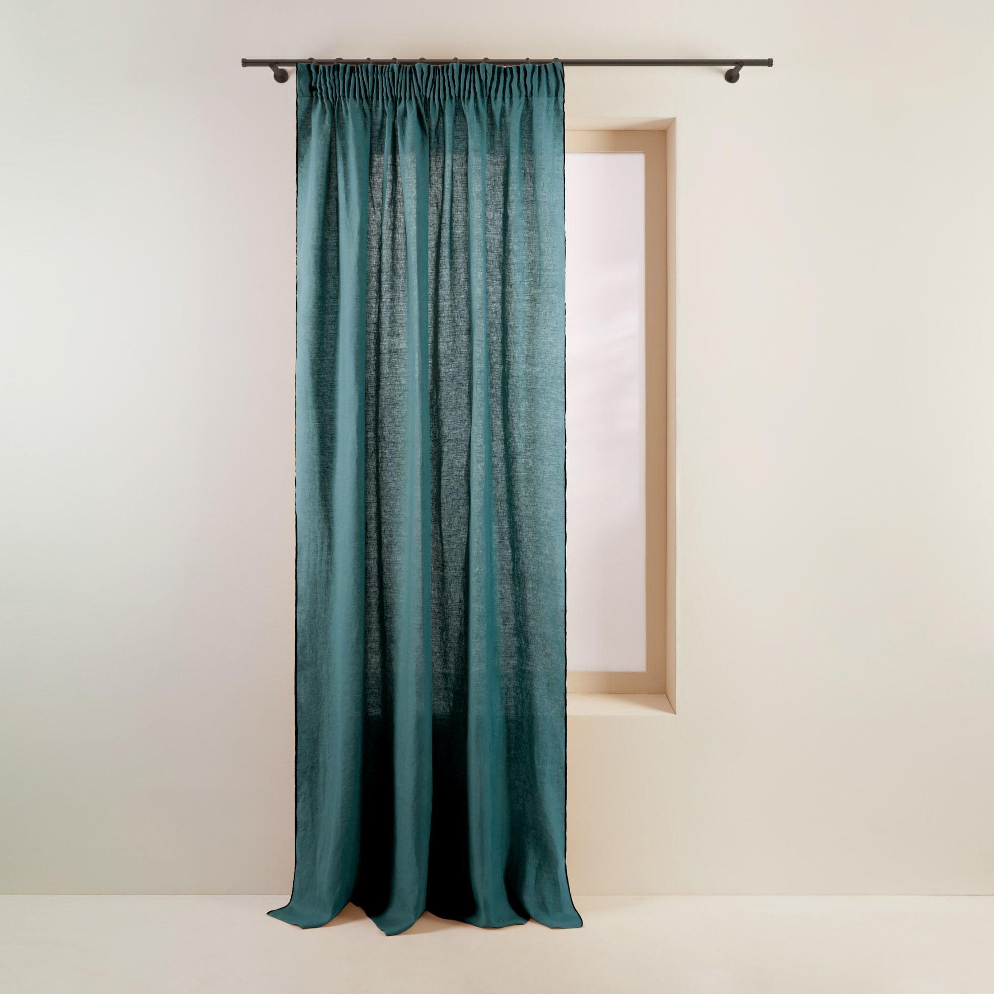 Rideau à ruban fronceur 350x280 cm Bleu vert et bourdon noir en Lin