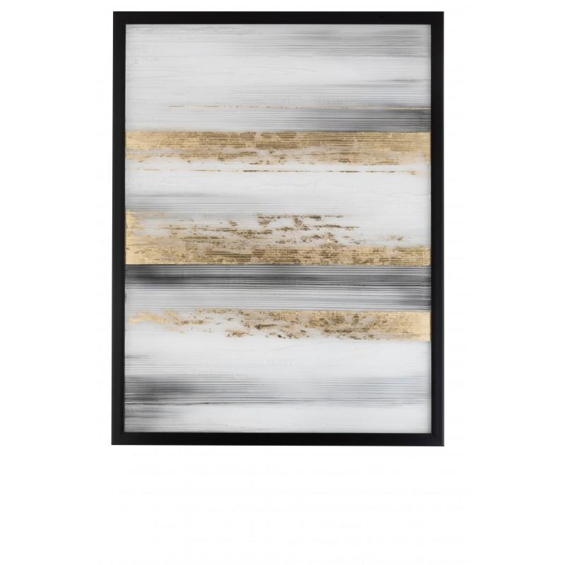 Peinture lignes noires/blanches/or 95x126cm