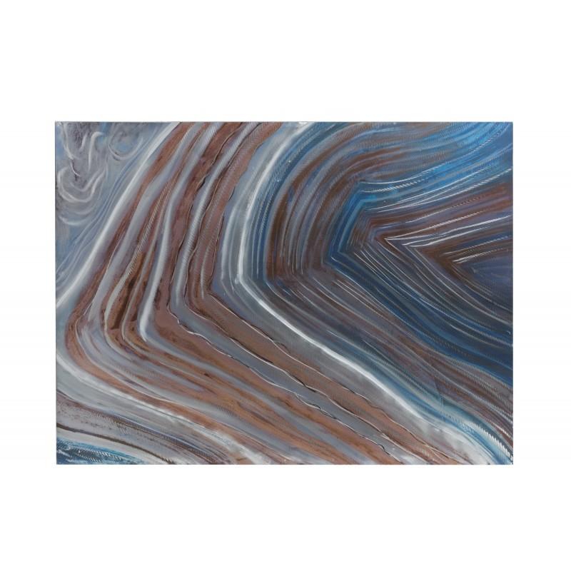 Peinture vagues bleues/marron/grises 119,5x90cm