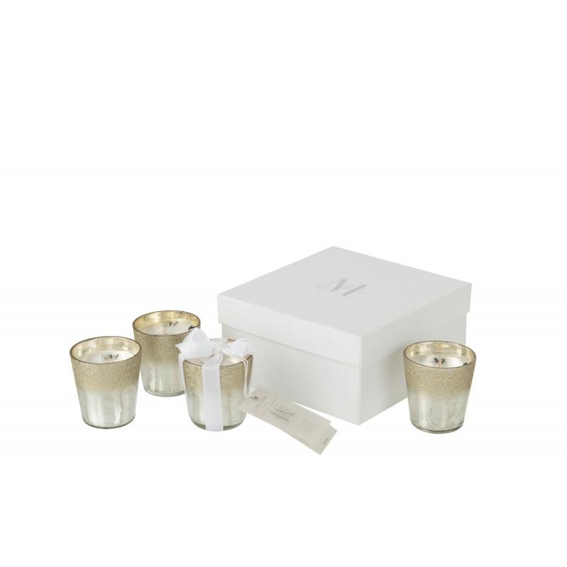 Boîte de 4 bougies parfumée verre argent