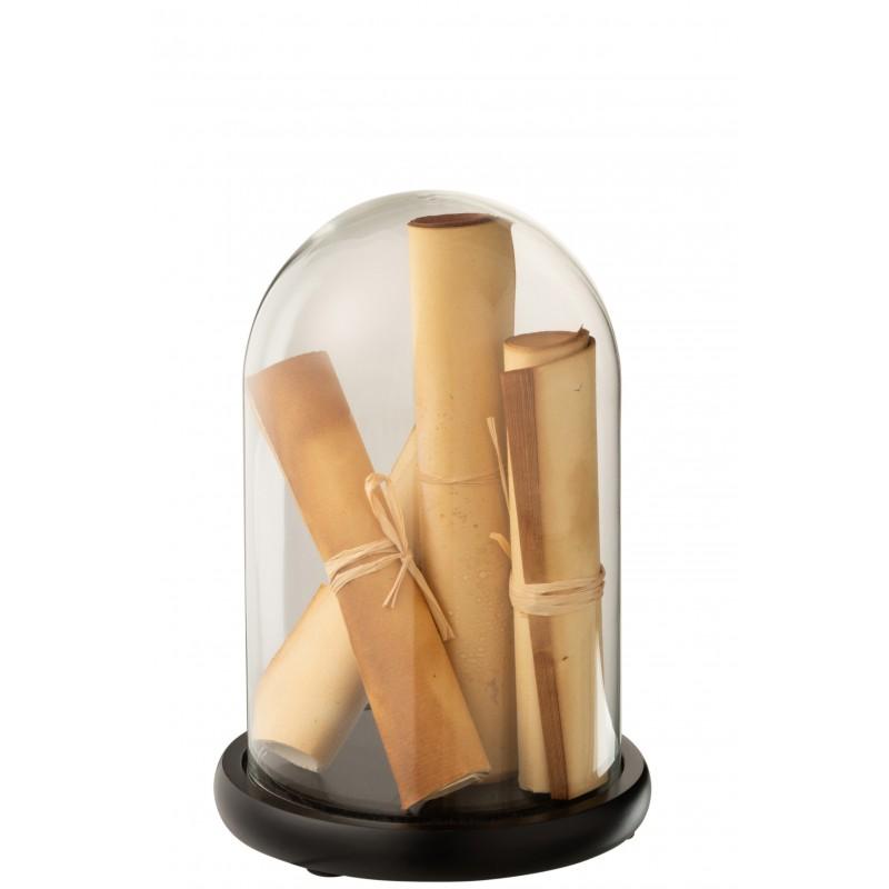 Cloche parchemin marron verre H25cm
