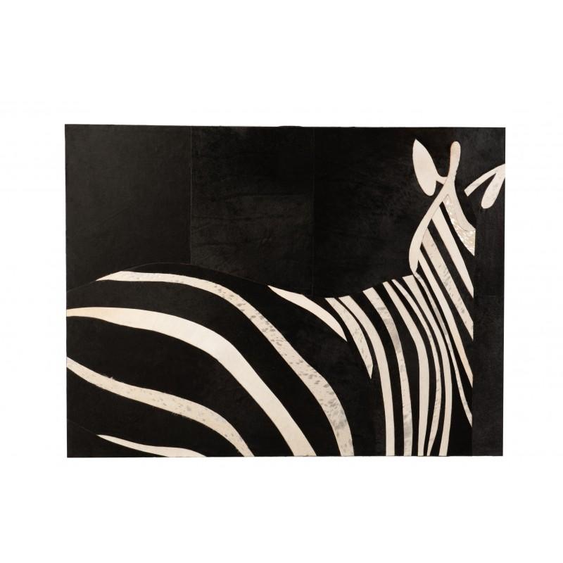 Cadre rectangulaire zèbre cuir noir/blanc 120x90cm