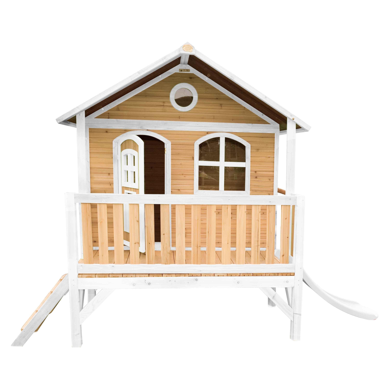 Maisonnette sur pilotis en bois brun et blanc avec toboggan blanc