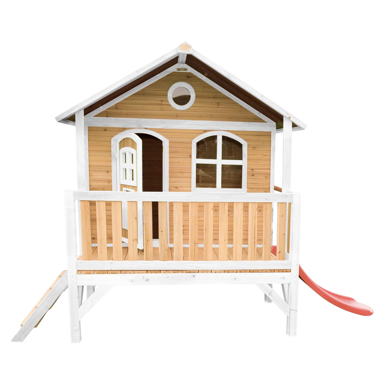 Maisonnette sur pilotis en bois brun et blanc avec toboggan rouge