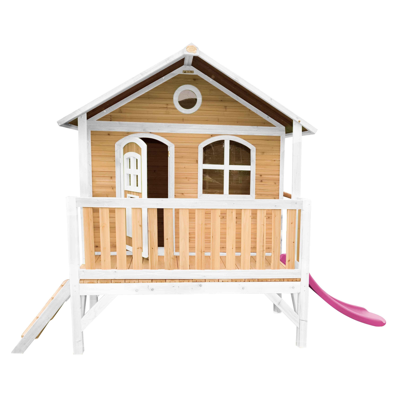 Maisonnette sur pilotis en bois brun et blanc avec toboggan violet