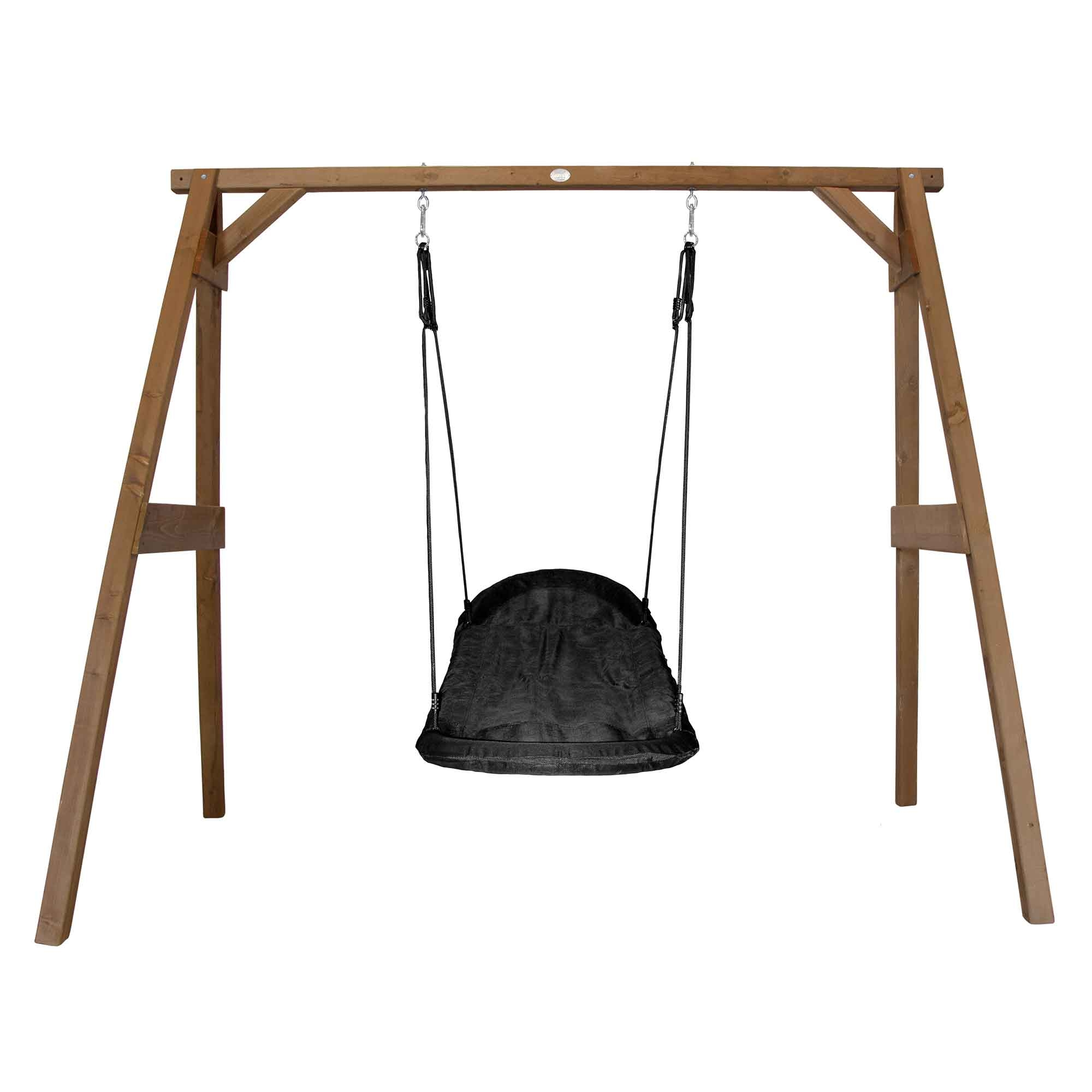 Portique en bois marron avec balançoire siège nid ovale